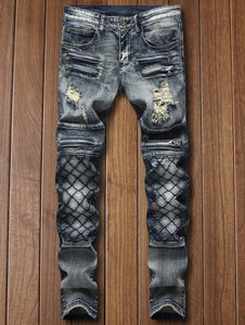 New Style & Fashion Checked Straight Leg Tapered Jeans