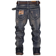 Load image into Gallery viewer, NEW Fashion Ripped Design Cuffed Men's Nine Minutes of Straight Jeans