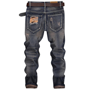 NEW Fashion Ripped Design Cuffed Men's Nine Minutes of Straight Jeans