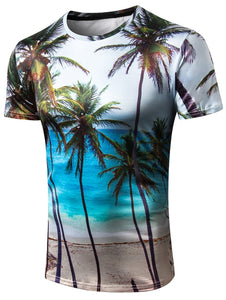 Crew Neck 3D *Breathable Seaside Coco Print Men's Dress T-shirt
