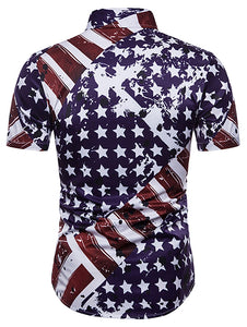 Hidden Button American Flag *Breathable Men's Print Dress Shirt