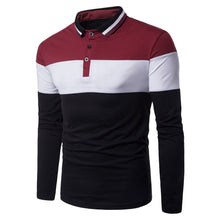 Load image into Gallery viewer, Turn-down Collar Long Sleeve Color Blocking Men's Dress T-shirt