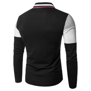 Turn-down Collar Long Sleeve Color Blocking Men's Dress T-shirt