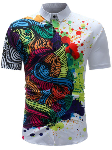 Colorful Spatter *Breathable Paint Print Men's Short Sleeve Dress Shirt