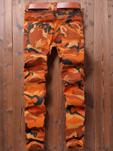Load image into Gallery viewer, NEW Style Men's Camouflage Print Patchwork Straight Biker Jeans