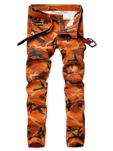 NEW Style Men's Camouflage Print Patchwork Straight Biker Jeans