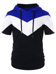 Color Block Short Sleeve Drawstring Hoodie