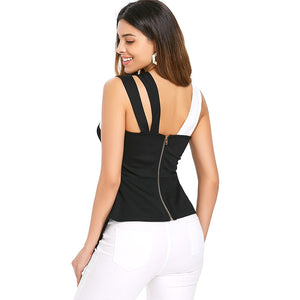 NEW Fashion Women's Back Zip Asymmetrical Flare Tank Top