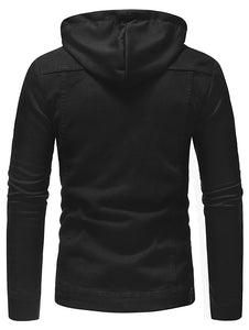 Casual Patchwork Drawstring Men's *Breathable Hoodie Jacket