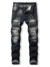 Load image into Gallery viewer, Patched Spliced Distressed Slim Fit Jeans