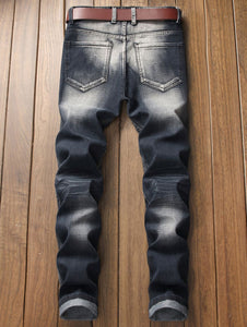 Patched Spliced Distressed Slim Fit Jeans