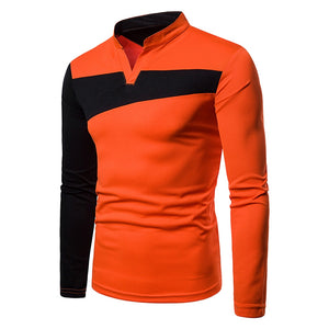 New Fashion Men's Long Sleeve Contract Color Dress T-Shirt