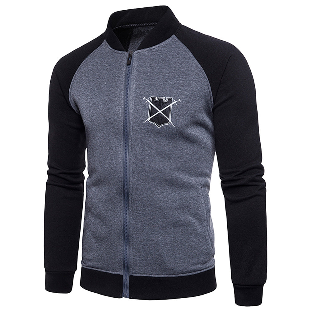 Chest Applique Zip Up Jacket
