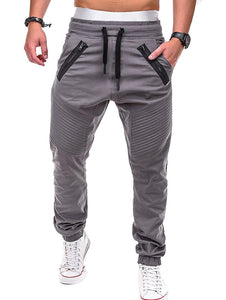 Stitch Zipper Embellished Casual Jogger Pants
