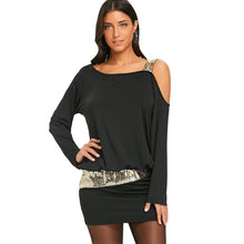 Load image into Gallery viewer, NEW Fashion Long Sleeve Sequins Cold Shoulder Stylish Dress