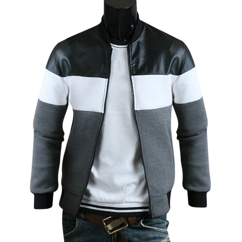 Classic Color Block PU Leather Spliced Rib Hem Long Sleeves Men's Jacket