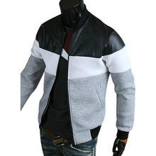 Load image into Gallery viewer, Classic Color Block PU Leather Spliced Rib Hem Long Sleeves Men's Jacket