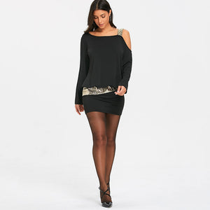 NEW Fashion Long Sleeve Sequins Cold Shoulder Stylish Dress