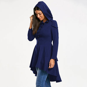 NEW Fashion Layered Laced Up High-Low Women's Hooded Stylish Coat