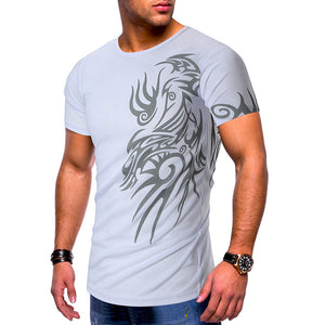 Tattoo Print Short Sleeve Casual T-shirt