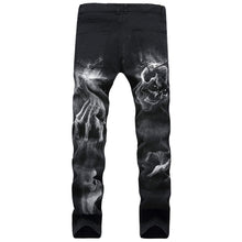 Load image into Gallery viewer, Zipper Fly Skull Graphic Jeans