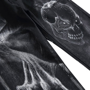Zipper Fly Skull Graphic Jeans