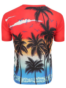 New Fashion Palm Tree Print Short Sleeve T-Shirt