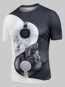 New Fashion Headphones Skull Print Two Tone Casual T-Shirt for Man