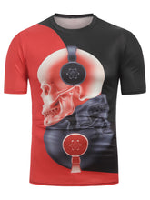 Load image into Gallery viewer, New Fashion Headphones Skull Print Two Tone Casual T-Shirt for Man