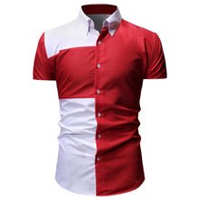 Load image into Gallery viewer, Turn-down Collar Color Blocking Short Sleeves Men Shirt