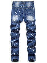 Load image into Gallery viewer, Splatter Paint Ripped Pencil Denim Pants