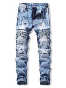New Style Drape Panel Ripped Design Stylish Men Jeans