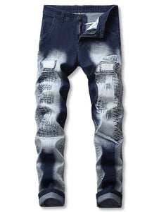 New Style Ombre Print Patchworks Decoration Jeans