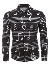 Load image into Gallery viewer, Stylish Long Sleeve *Breathable Music Notes Print Button Up Festival Shirt