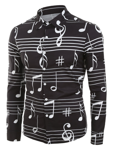 Stylish Long Sleeve *Breathable Music Notes Print Button Up Festival Shirt