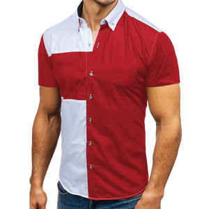 Turn-down Collar Color Blocking Short Sleeves Men Shirt