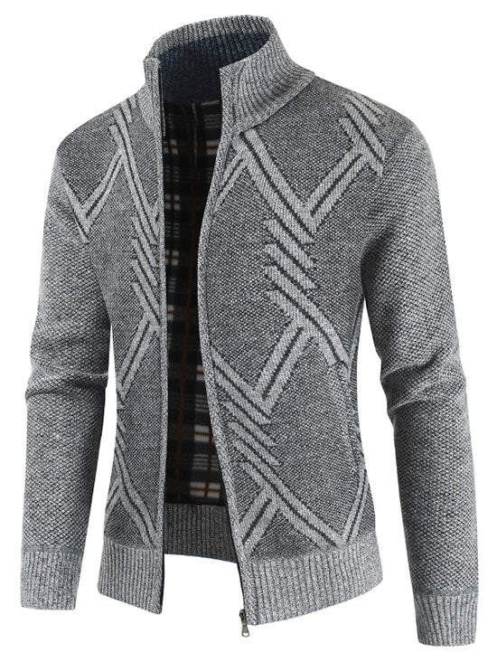 Geometric Pattern Long Sleeves Men Cardigan