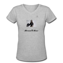"Load image into Gallery viewer, Women DJ's Dream Logo - ""Married To Music"" Female DJ & Vinyl V-Neck Premium T-Shirt - gray"