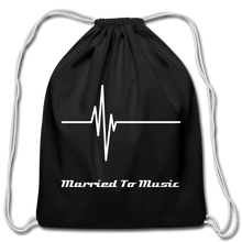 "Load image into Gallery viewer, ""Married To Music"" Line - Black Cotton Drawstring Bag - black"