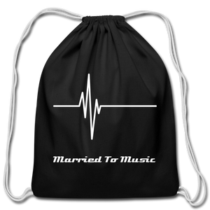 """Married To Music"" Line - Black Cotton Drawstring Bag - black"