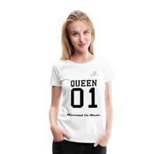 "Load image into Gallery viewer, Women DJ's Dream Logo - ""Married To Music"" Queen 01 Women's Premium T-Shirt - white"