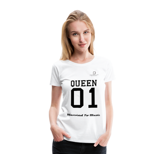 "Women DJ's Dream Logo - ""Married To Music"" Queen 01 Women's Premium T-Shirt - white"