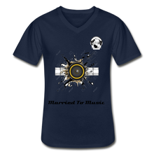 "Load image into Gallery viewer, Premier DJ E-Luv Logo - ""Married To Music"" Speaker Men's V-Neck T-Shirt - navy"