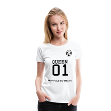 "Load image into Gallery viewer, Premier DJ E-Luv Logo - ""Married To Music"" Queen 01 Women's Premium T-Shirt - white"