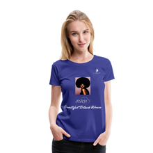 "Load image into Gallery viewer, ""Beautiful Black Women"" Line - (Classic Afro) Soft Premium T-Shirt - royal blue"