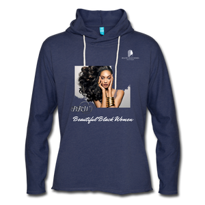 """Beautiful Black Women"" Line - (Inviting) Unisex Lightweight Terry Hoodie - heather navy"