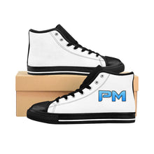 "Load image into Gallery viewer, P.M. - ""Perfect Makeup"" Line - Baby Blue Logo Custom Design Women's High-Top Sneakers"