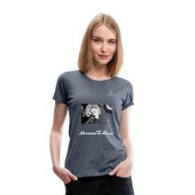 "Load image into Gallery viewer, Women DJ's Dream Logo - ""Married To Music"" Iconic Madonna Women's Premium Black T-Shirt - heather blue"