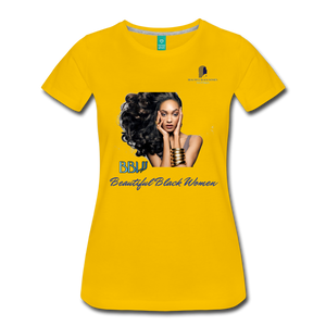 """Beautiful Black Women"" Line - (Inviting) Soft Premium Cotton T-Shirt - sun yellow"