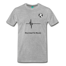 "Load image into Gallery viewer, Premier DJ E-Luv Logo - ""Married To Music"" Signature Men's Premium T-Shirt - heather gray"